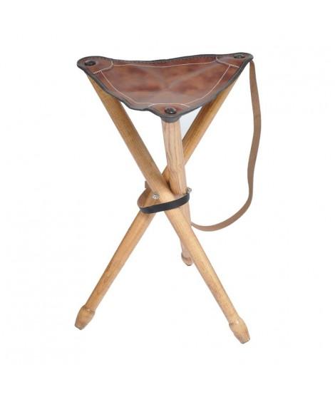 Trebenet luksus klapstol m. brunt lædersæde
