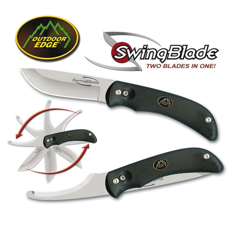 Outdoor Edge: Swingblade - Kniv med bugåbner. Sort