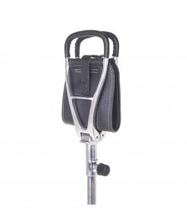 Etbenet jagtstol med sort lædersæde