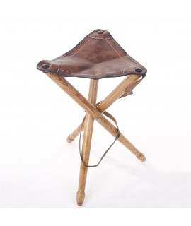Trebenet klapstol m. brunt lædersæde